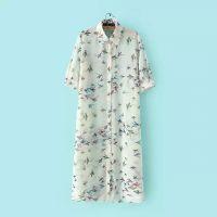 夏季女士薄开衫外套雪纺披肩 小鸟印花紫外线超长款户外防晒衣服