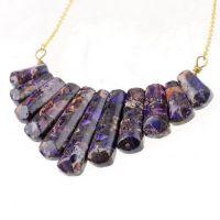 新款 速卖通 亚马逊 外贸饰品 紫色 T形 天然石项链  厂价批发