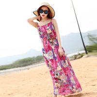 新款夏季雪纺连衣裙 欧美大牌印花沙滩裙 波西米亚吊带长裙 女