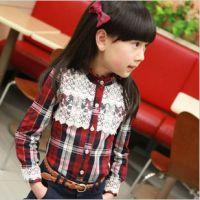 2015春季新款 韩版童装女童格子衬衫蕾丝长袖童衬衣儿童上衣外套