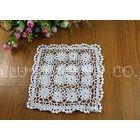 White Flower Square Crochet Floor Rug / Cotton Handmade Crochet Placemat