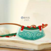 高端祥云陶瓷吊坠 手制精品陶瓷饰品 浮雕项链高端大气礼品