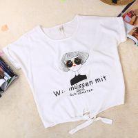 2015夏季时尚女装 韩版白色图像女士T恤 时尚系带修身短袖打底衫