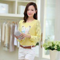 2015夏季新款款韩版双喜鹊图案长袖修身翻领雪纺衫 女式衬衫上衣