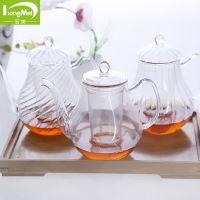 纯手工吹制竖条纹玻璃壶 高硼硅透明玻璃壶 高品质美体壶批发
