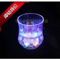 现货热销亚克力透明波萝纹啤酒杯 酒吧有机玻璃水感应发光杯子