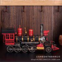 批发仿古铁艺火车头摆件 复古蒸汽火车头模型 纯手工铁艺工艺品
