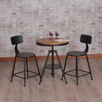 美式乡村复古实木铁艺桌椅三件套户外酒吧家用儿童凳子圆桌咖啡桌