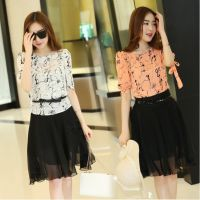 2015夏季新款套装连衣裙 韩版圆领雪纺数码印花系带两件套连衣裙