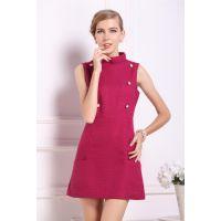 2013秋冬新款 欧美女装 批发 明星同款 无袖修身毛呢连衣裙W1659