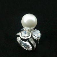 钛钢首饰批发 天然大珍珠满钻戒指 满天星18k玫瑰金戒指 女士钻戒