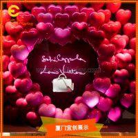商场美陈道具制作 供应影楼拍摄用 婚礼场景布置 玻璃钢粉红爱心气球道具
