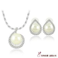 珍珠首饰套装 欧美婚庆用品 珍珠镶钻新娘耳环项链套装饰品 S020