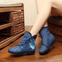 杭州汝美2016秋季新款绣花鞋布鞋绣花鞋厂直销169-3搭扣女靴布靴