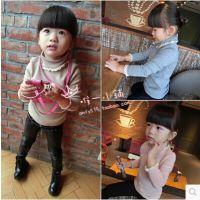 新款韩版秋冬装 女童小童宝宝高领打底衫纯色蕾丝边加厚 H
