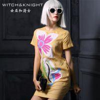 女巫和骑士夏季连衣裙2015新 欧美大牌欧洲站绣花亚麻夏装裙子女