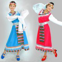 民族服装毛边藏族舞蹈演出服装水袖宽腰带广场舞女装表演服饰特价