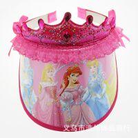 厂家直销宝宝卡通帽子 韩版儿童空顶帽 迪士尼皇冠公主太阳帽
