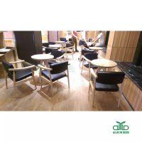 运达来定制特色南山餐厅家具 水曲柳实木圆桌配实木扶手椅