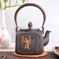 日本龙秀堂健康煮水茶壶批发养生保健铸铁茶壶裸铁鎏金厂家