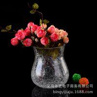 批发供应新品时尚欧式冰花玻璃花瓶绿萝水培定植篮玻璃器皿