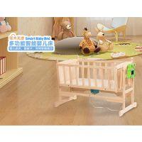 星贝乐智能电动婴儿床欧式实木无漆多功能BB摇篮宝宝小号童床