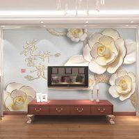 浮玉雕大型壁画 无纺布墙纸3D电视客厅沙发背景墙 家和牡丹壁纸