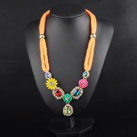 欧美复古宝石吊坠 绳编链花朵长款毛衣链项饰 速卖通货源N00291