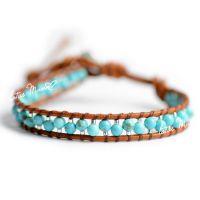 混批皮发路塔斯曼绿松石与银色米珠间隔单圈棕本色皮绳手链新