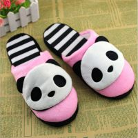 2014冬季新款可爱小熊猫棉拖鞋 软底男女家居室内拖鞋情侣地板拖