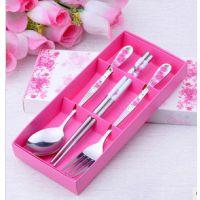 揭阳名瑞厂家批发 创意不锈钢餐具 玫瑰花叉勺筷三件套装 婚庆用品回礼