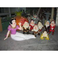 可定制玻璃钢雕塑卡通人物 雕塑动漫儿童乐园白雪公主和七个小矮人厂家直销