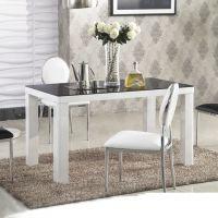 简约现代餐厅家具小户型餐桌钢化玻璃饭桌大理石桌面圆角餐台V51