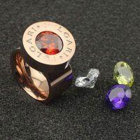 时尚韩版可换彩钻戒指钛钢换钻戒指18K玫瑰金戒指 现货