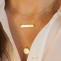 多层镀金细链条金属棒圆片吊坠项链 Ebay速卖通货源 ALQN20150469