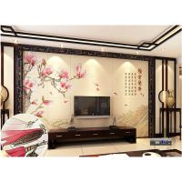 嘉善县哪有卖 高清3D玉雕瓷砖背景墙 雅舍兰香中式背景墙