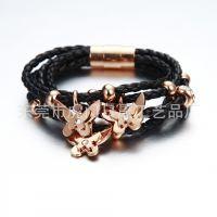 多圈不锈钢饰品 时尚皮绳手链 热销DIY异域风情皮绳手链 现货供应