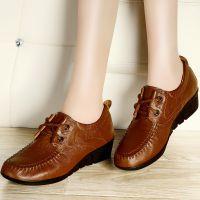 古奇天伦7791真皮女鞋头层牛皮厚底深口单鞋坡跟妈妈鞋休闲鞋批发