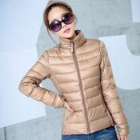 厂家批发新款轻薄羽绒服女款修身拉链平湖短款羽绒服品牌大码90绒