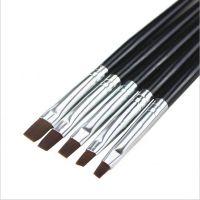美甲笔刷 5支一套黑杆光疗刷光疗笔排笔套装 法式光疗甲适用
