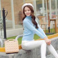 2015秋冬装新款女装韩版短款高领毛衣女套头 修身针织打底衫9531