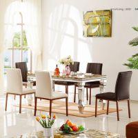 现代简约时尚经典客厅家具钢化玻璃桌面大理石台面不锈钢餐台V38