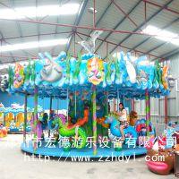 海洋转马郑州宏德海洋主题游乐设备旋转木马豪华转马热销产品
