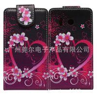 厂家大量生产紫色大心型款华为Y300手机保护皮套 手机保护套批发