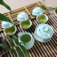 高档茶具套装 龙泉青瓷彩鲤鱼套装 工夫陶瓷茶具 彩鲤双鱼8件套