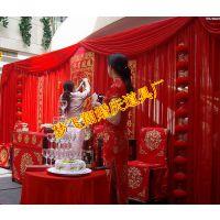 大红背景纱幔中式婚礼现场布置冰丝冰绸亮片婚庆道具批发梦飞翔