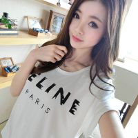 2015实拍夏装新款韩版短袖圆领字母宽松体恤时尚百搭打底衫女潮