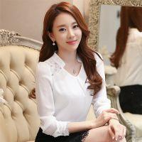 实拍2016大码韩版显瘦立领衬衣修身V领长袖蕾丝拼接雪纺打底衫