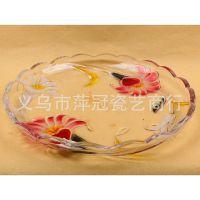【淘宝热卖】 水果盘  奢华玻璃盘  圆形透明花色外表高档水果盘