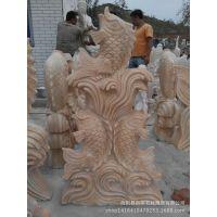加工定做石材雕刻鱼喷泉,晚霞红喷水鱼,石头喷水鱼,动物石雕